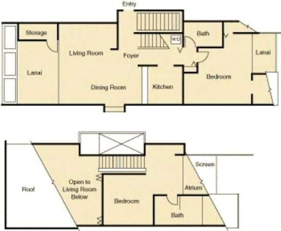 Floor Plan for Maui Kamaole I205- September Specials! Oceanview 2BR with High-end Remodel