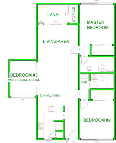 Floor Plan for Kamaole Sands #10-115- Gorgeous 3BR Oceanview Condo